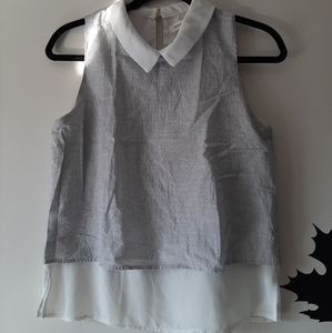 Double layer Monteau Collared top